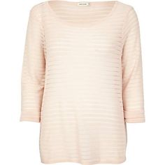 Beige subtle stripe boxy t-shirt - long sleeve tops - t shirts / vests / sweats - women
