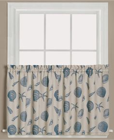 """Saturday Knight Seychelles Graphic-Print Pair of 29"""" x 36"""" Tier Curtains Bedding"""