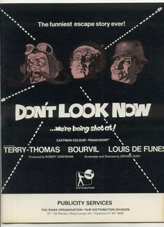 Don't Look Now Cult War Comedy 1966 Promo Press Souvenir Film Brochure Terry Thomas Rare we are being shot at Cult Promo Terry Thomas, Film Distribution, Ww2, Comedy, Cinema, French, Classic, Funny, Movie Posters