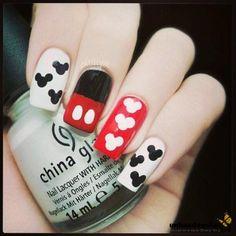 Mickey Mousa Artnails - Nails of the day. Unhas de Gel do rato mickey.