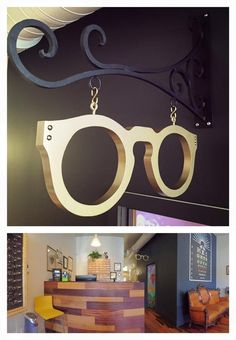 A two foot frame painted hammered metal gold for a fantastic new optical shop. A hammered gold metal frame for a fantastic new optical shop. Optic Shop, Art Furniture, Furniture Design, Cheap Furniture, Optometry Office, Glasses Shop, Clinic Design, Store Design, Painting Frames