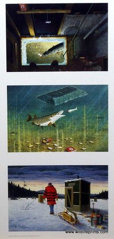 All three of Les Kouba's fantastic Darkhouse Spearing scenes are combined into one print--Spearing, Action, Finale. The best Ice Fishing paintings ever done. This open edition trilogy has an unframed
