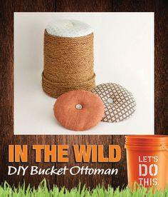 DIY ottoman made from a Home Depot bucket