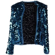 Marco Bologna Blazer ($95) ❤ liked on Polyvore featuring outerwear, jackets, blazers, coats, blazer, blue, single breasted jacket, long sleeve jacket, blue blazer and sequin jacket