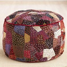 Velvet Patchwork Pouf Annual Home Decor Event Sale
