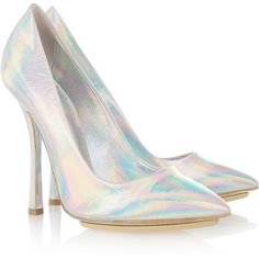Stella McCartney Holographic faux leather pumps ($225) ❤ liked on Polyvore featuring shoes, pumps, heels, pointed toe pumps, pointy toe high heel pumps, high heel shoes, slip-on shoes and high heel pumps