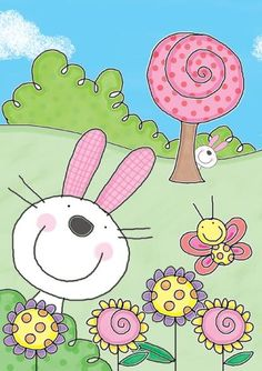 rabbits Possibly use with 5 basic elements. Art Drawings For Kids, Drawing For Kids, Painting For Kids, Easy Drawings, Art For Kids, Bunny Drawing, Easter Art, Easter Crafts, Arte Elemental