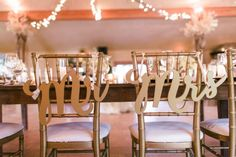 Gold Chair Signs Mr & Mrs Signs for Wedding Chairs for Bride and Groom - Hanging Chair Signs Wedding Decor - 3 Piece Set (Item - MCK200)
