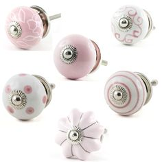 Draw Handles, Knobs And Handles, Shabby Chic Drawer Pulls, Door Knobs, Ceramic Pottery, Stud Earrings, Ceramics, Vintage, Pink