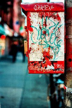 Call Box Graffiti. Kodak Ektar 100, Nikon F3, Zeiss Makro-Planar T* 50mm f/2. © Jim Fisher