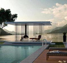 pool Design Exterior, Interior Exterior, Interior Architecture, Interior Staircase, Pavilion Architecture, Contemporary Architecture, Contemporary Interior, Interior Ideas, Outdoor Spaces