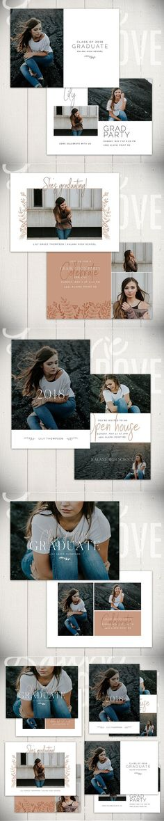 Photoshop Templates For Girl Senior Graduation Cards Instant