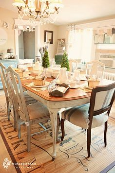 rug idea for breakfast area. table idea for dining room...looks like a bamboo mat that has been stenciled.