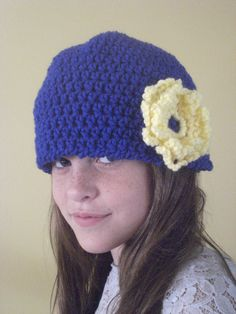 Handcrafted Crochet Blue & Yellow Flower Beanie for Ladies  GIrls. $20.00, via Etsy.