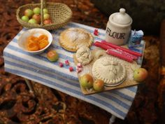 dollhouse fruit pie making table , apple, rurbarb, apricots pies , pretty little table , handmade 1/12 scale x by farmhouseminiatures on Etsy