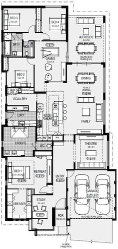 Display Homes Perth Dream House Plans, Modern House Plans, House Floor Plans, House Architecture Styles, Modern Architecture, House Plans Australia, Home Design Floor Plans, Apartment Floor Plans, House Blueprints