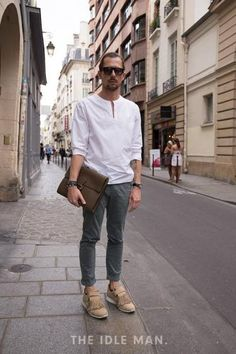 Carrying off Collarless - Street Style at The Idle Man