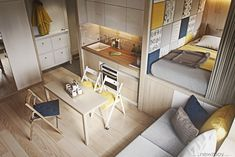 Ultra Tiny Home Design: 4 Interiors Under 40 Square Meters The first home was illuminated by Japanese and Scandinavian minimalism. It has a small dining area, which also includes a small living room. The coziest element is the sleeping area. Apartment Layout, Cozy Apartment, Apartment Interior Design, Apartment Kitchen, Apartment Living, Apartment Ideas, Interior Ideas, Room Interior, Kitchen Interior