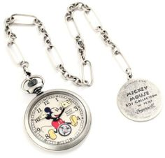 Ingersoll Unisex IND 25834 Ingersoll Mickey Mouse 30's Collection Silver Pocket Watch Ingersoll. $190.06. Seconds subdial. Black arabic numerals. Mickey mouse image on dial. Antique finish stainless steel case. Mechanical movement. Save 52%!