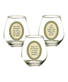 Look at this #zulilyfind! Celtic Tradition Stemless Wine Glass Set by Grasslands Road #zulilyfinds