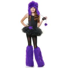 Purple Monster with Bow Set Costume Kids Girls Halloween #Charades