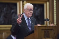 LONDON, ENGLAND - FEBRUARY 3: Former U.S. President Jimmy Carter receives delivers a lecture on the eradication of the Guinea worm, at the House of Lords on February 3, 2016 in London. The lecture, entitled Final Days of the Fiery Serpent: Guinea Worm Eradication, was delivered by President Carter on behalf of The Carter Centre. (Photo by Eddie Mullholland-WPA Pool/Getty Images)