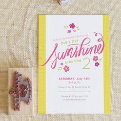 Sunshine Birthday Party Invitation, via Etsy.