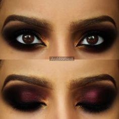 Going on a nightout? DIY this look that showcases plum and brown eyeshadow. It is highlighted by gold makeup and perfectly lined brows.