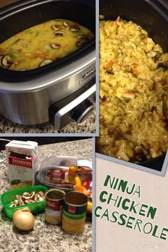 Ninja Chicken Casserole*1 roasted chicken*1 can cream corn*1 can cream of chicken soup*2 cups chicken stock*1 box Zatarains yellow rice*2 tbs butter*desired amounts Gouda Cheese (or other), fresh chopped mushrooms,reg onion,green onion, chopped peppers. Sauté onions & peppers in butter add mushrooms. Add Zatarains rice. Pour in chicken stock, cream corn, chicken soup. Mix well cover, cook on low 4 hours. Chop roasted chicken (desired amount). Mix chicken in rice mixture add cheeses until…