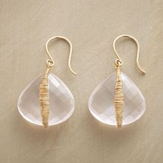 """ROSE PETAL EARRINGS--Dana Kellin wraps petal-like cuts of rose quartz in 14kt gold wire wound round and round. Handmade in USA with French wires. 1-3/8""""L."""