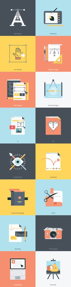 Free Creative Fields Icon Set | Ai, EPS (4.3 MB) | By HowColor on GraphicBurger | #free #vector