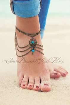 Anklet Jewelry anklet foot jewelry bronze with two turquoise beads boho bohemian hippie ethno body jewelry - Material:alloy Colour:silver Total pendant Ankle Jewelry, Ankle Bracelets, Hippie Jewelry, Fine Jewelry, Jewelry Dish, Jewelry Stand, Jewelry Storage, Indian Jewelry, Jewelry Shop