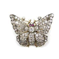 19th century diamond tremblant butterfly brooch, c.1880