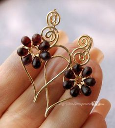 (5) Name: 'Jewelry : Wire Wrap Earrings Charming Hearts 2