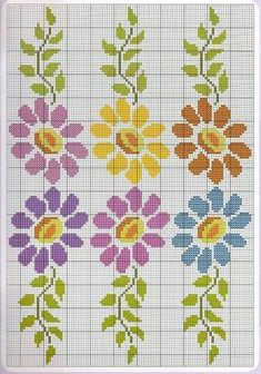 Here you can look and cross-stitch your own flowers. Simple Cross Stitch, Cross Stitch Borders, Cross Stitch Flowers, Cross Stitch Charts, Cross Stitch Designs, Cross Stitching, Cross Stitch Embroidery, Hand Embroidery, Cross Stitch Patterns