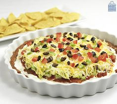 Dip and dunk your favorite sliced veggies or tortilla chips into this layered Southwestern Taco #Dip that's low in fat but high in flavor! #recipe