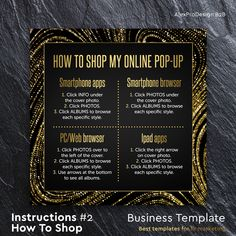 How To Shop Album Covers, Social Media Instant Download, Shopping Instructions, Golden style dark, LuLa marketing, llr fashion retailer #2 by AlexProDesignB2B on Etsy