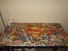 Superman comic collage desk by ComicReliefOriginals on Etsy, $649.00