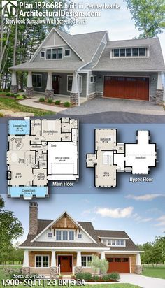 Plan 18266be Storybook Bungalow With Screened Porch Craftsman Bungalow House Plans Craftsman House Plans Cottage House Plans