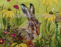 marmaladerose 'Tandy's Hare' wet felted wool art.