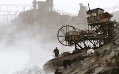 1920 - abandoned mine, Jakub Rozalski on ArtStation at https://www.artstation.com/artwork/1920-abandoned-mine