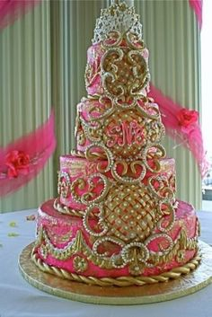 A cake fit for a Queen aka Margarita Girl dessert. Indian Wedding Cakes, Beautiful Wedding Cakes, Gorgeous Cakes, Unique Wedding Cakes, Pretty Cakes, Wedding Cake Designs, Amazing Cakes, Unique Cakes, Elegant Cakes