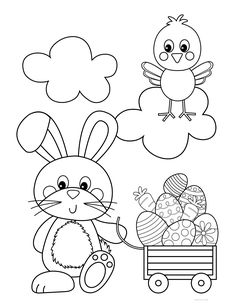 Free Easter bunny coloring pages for kids and adults. Features an Easter bunny pulling a wagon full of Easter eggs. Easter Bunny Colouring, Bunny Coloring Pages, Easy Coloring Pages, Coloring Books, Easter Coloring Pages Printable, Easter Printables, Easter Puzzles, Easter Colors, Easter Crafts For Kids