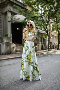 long floral print dress in white + yellow