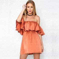 orange dress, ruffle dress, satin dress, orange off the shoulder sexy dress - Lyfie
