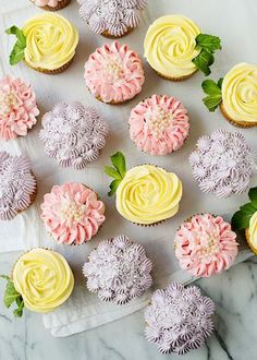 Flower Cupcakes - buttercream piping