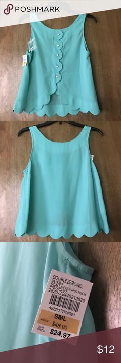 Scalloped sleeveless top Beautiful scalloped sleeveless top never worn with tags still on. The color is a summery sea foam green. The back of the shirt has gorgeous white buttons all the way down. I LOVE this shirt but sadly it doesn't fit me! Tops Blouses