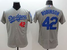 f1ebe514 Dodgers #42 Jackie Robinson Grey Flexbase Authentic Collection Stitched MLB  Jersey Jackie Robinson, Mlb