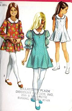 Girls 1960s Dress with Princess Seams, Trupment Skirt, Round neckline, Vintage Sewing Pattern, Simplicity Pattern 8624 Size 10 via Etsy.