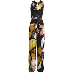 Vivienne Westwood Anglomania Twisted floral-print crepe jumpsuit ($312) ❤ liked on Polyvore featuring jumpsuits, multi, floral jumpsuit, crepe jumpsuit, floral wide leg jumpsuit, wide leg jumpsuits and loose jumpsuit